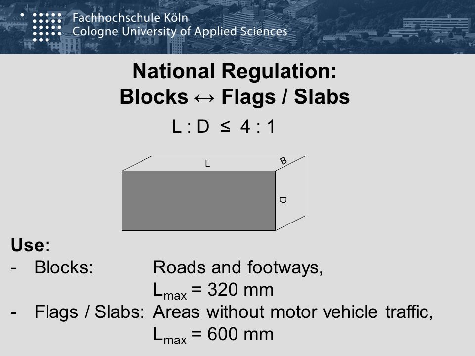 National Regulation: Blocks ↔ Flags / Slabs