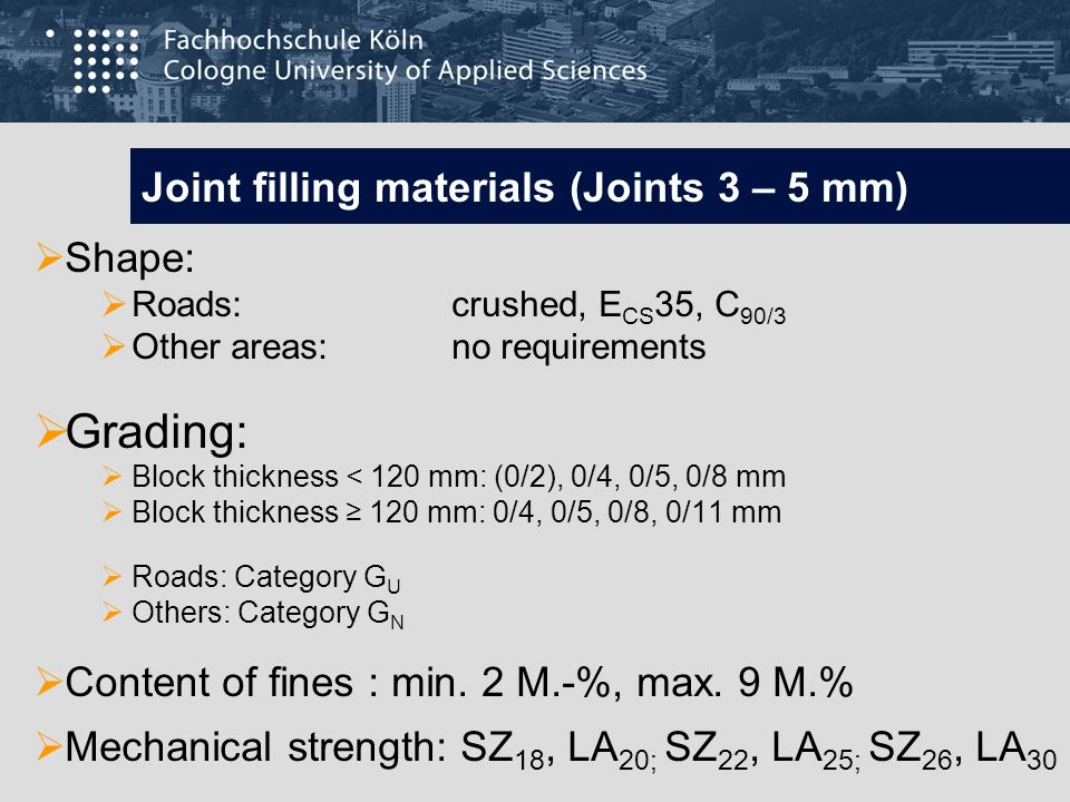 Joint filling materials (Joints 3 – 5 mm)