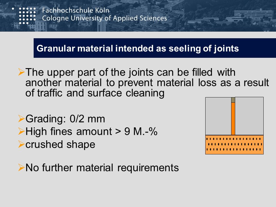 Granular material intended as seeling of joints