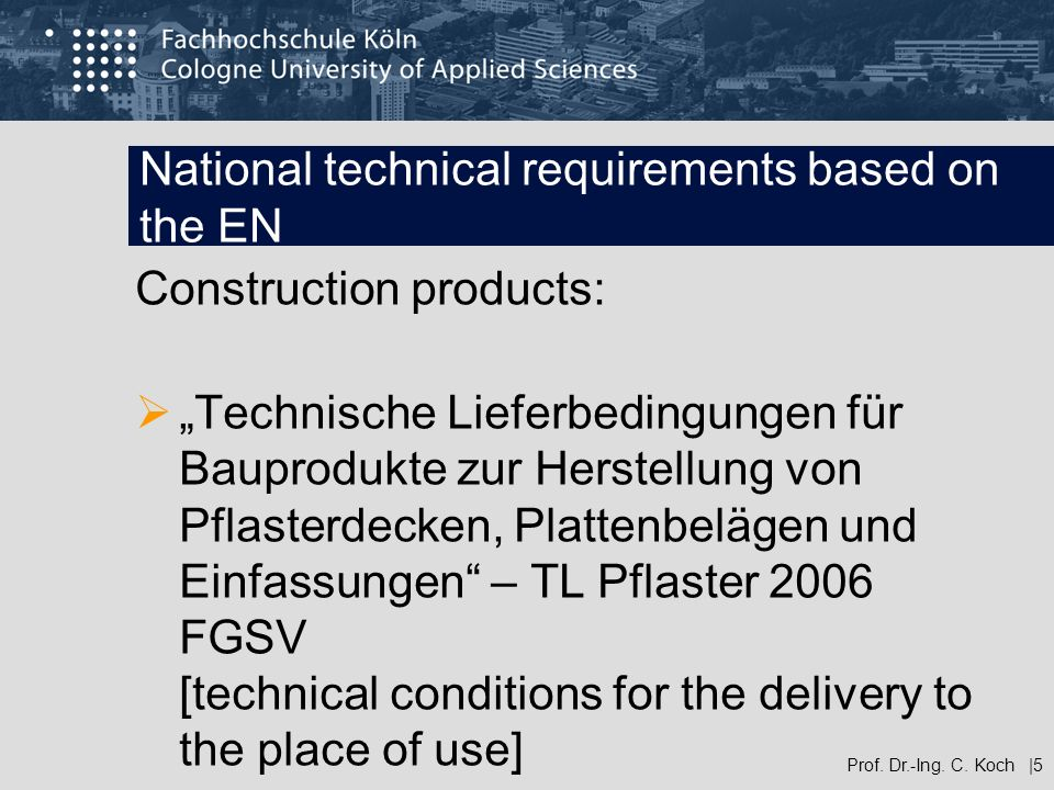 National technical requirements based on the EN