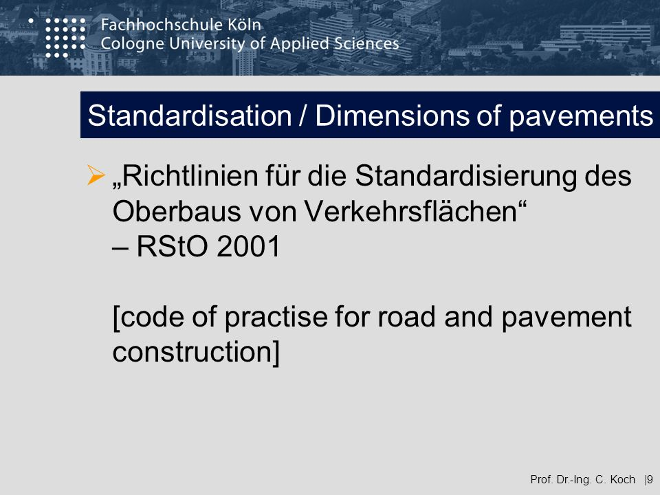 Standardisation / Dimensions of pavements