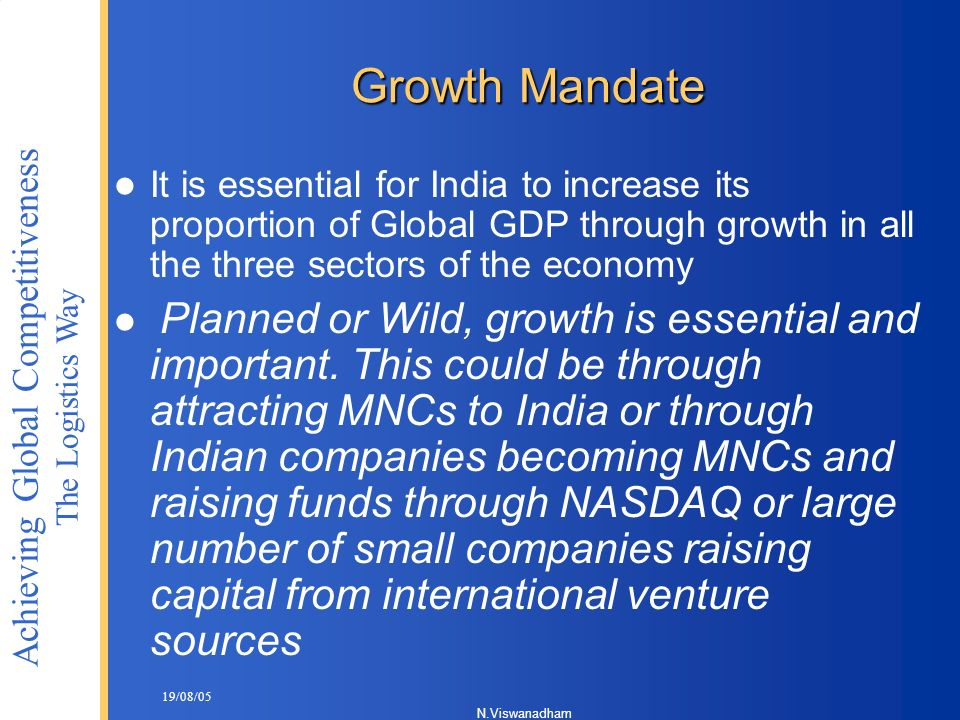 Growth Mandate It is essential for India to increase its proportion of Global GDP through growth in all the three sectors of the economy.
