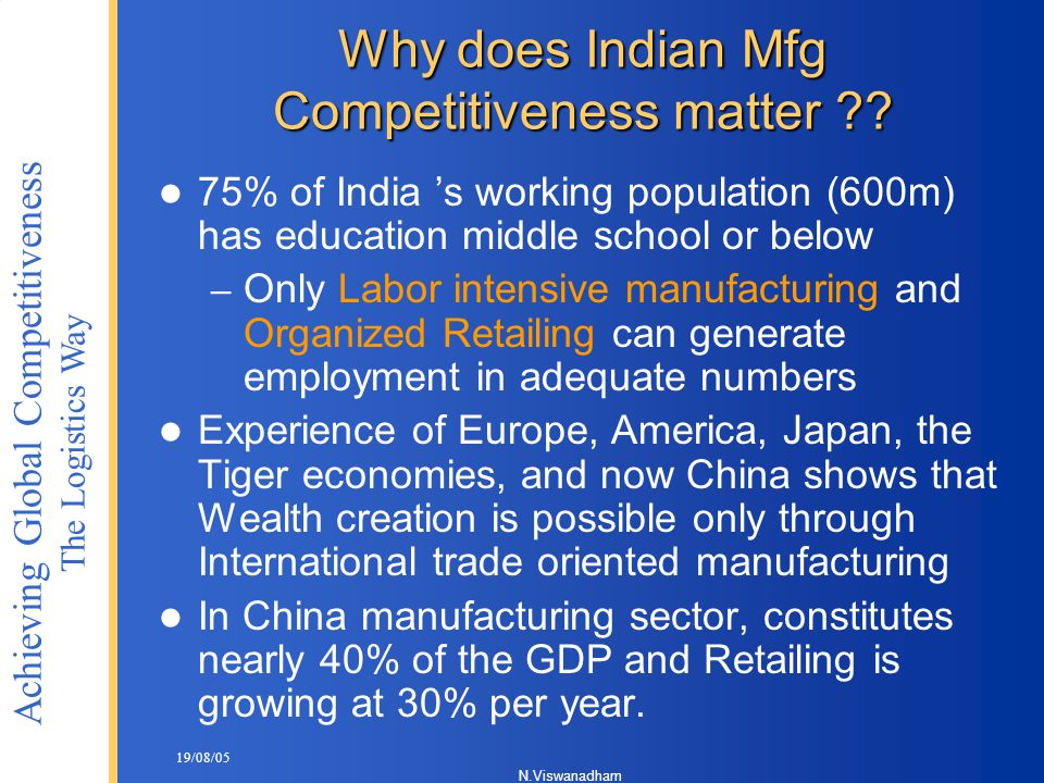 Why does Indian Mfg Competitiveness matter