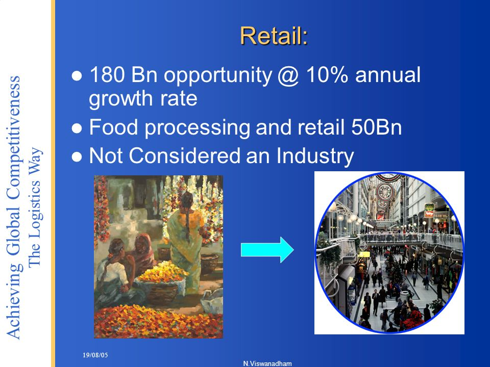 Retail: 180 Bn 10% annual growth rate