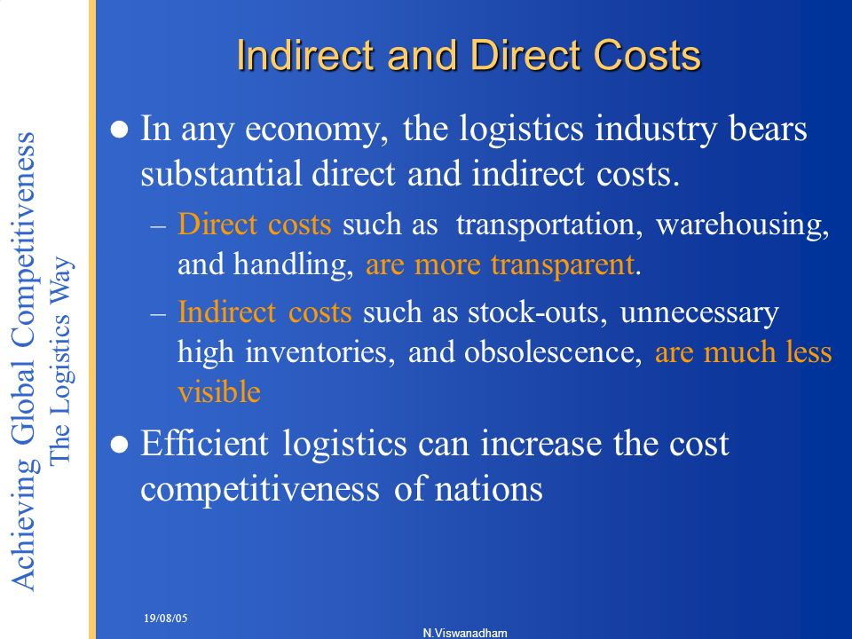 Indirect and Direct Costs