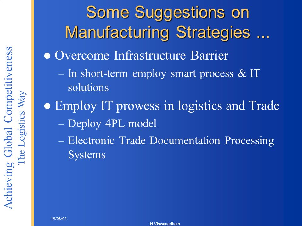 Some Suggestions on Manufacturing Strategies ...