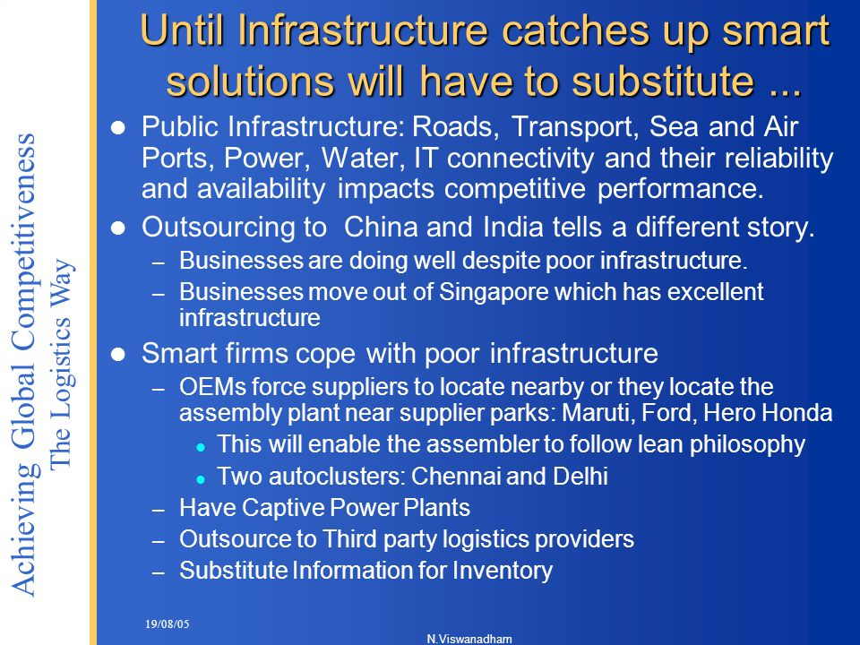 Until Infrastructure catches up smart solutions will have to substitute ...