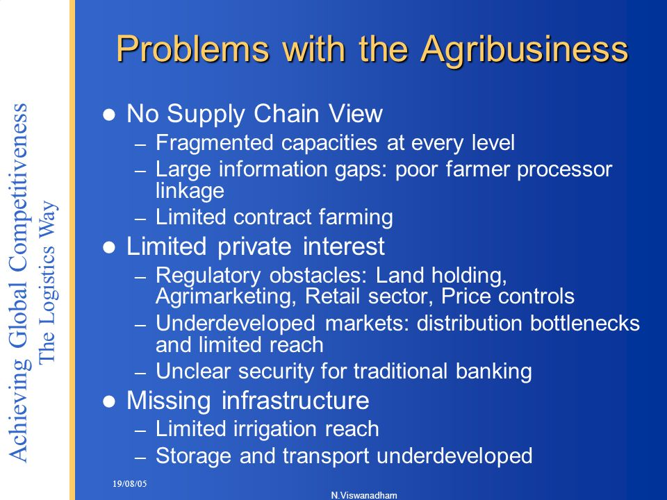 Problems with the Agribusiness