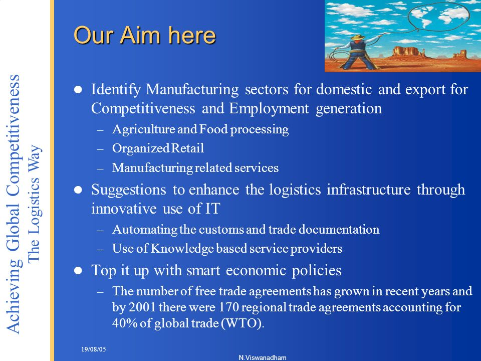 Our Aim here Identify Manufacturing sectors for domestic and export for Competitiveness and Employment generation.