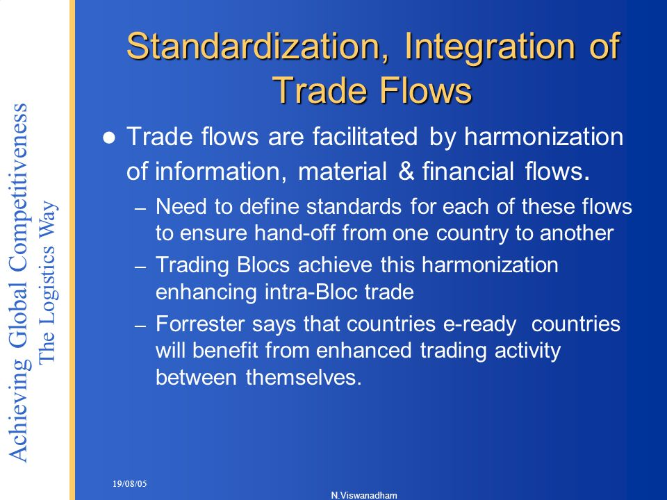 Standardization, Integration of Trade Flows