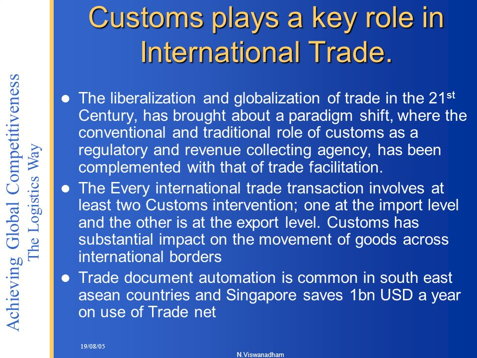 Customs plays a key role in International Trade.