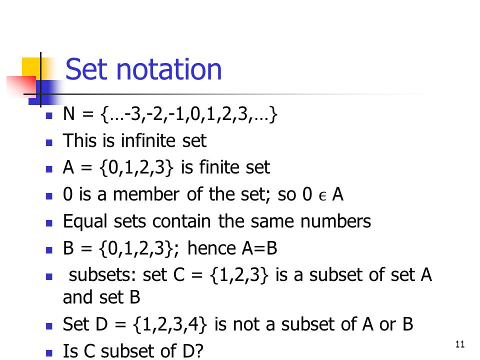 Set notation N = {…-3,-2,-1,0,1,2,3,…} This is infinite set