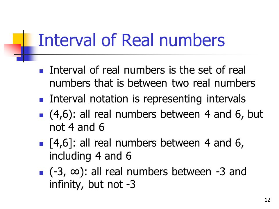 Interval of Real numbers