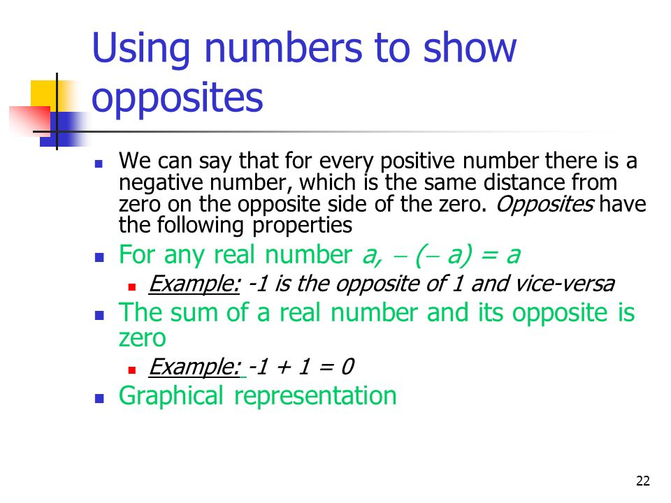 Using numbers to show opposites