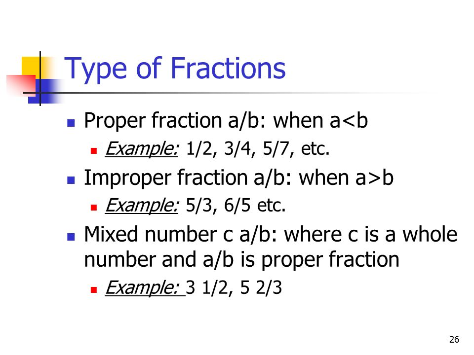 Type of Fractions Proper fraction a/b: when a<b