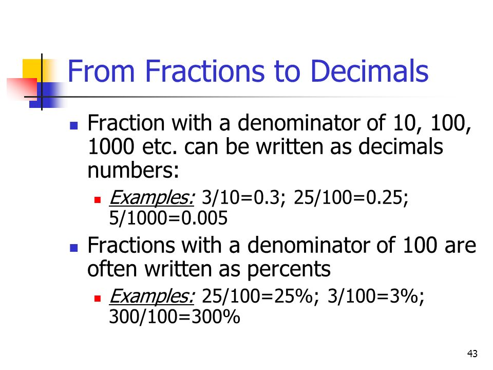 From Fractions to Decimals