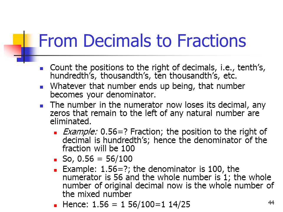 From Decimals to Fractions