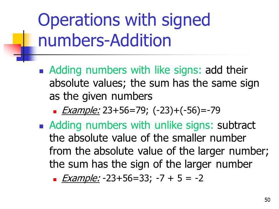 Operations with signed numbers-Addition