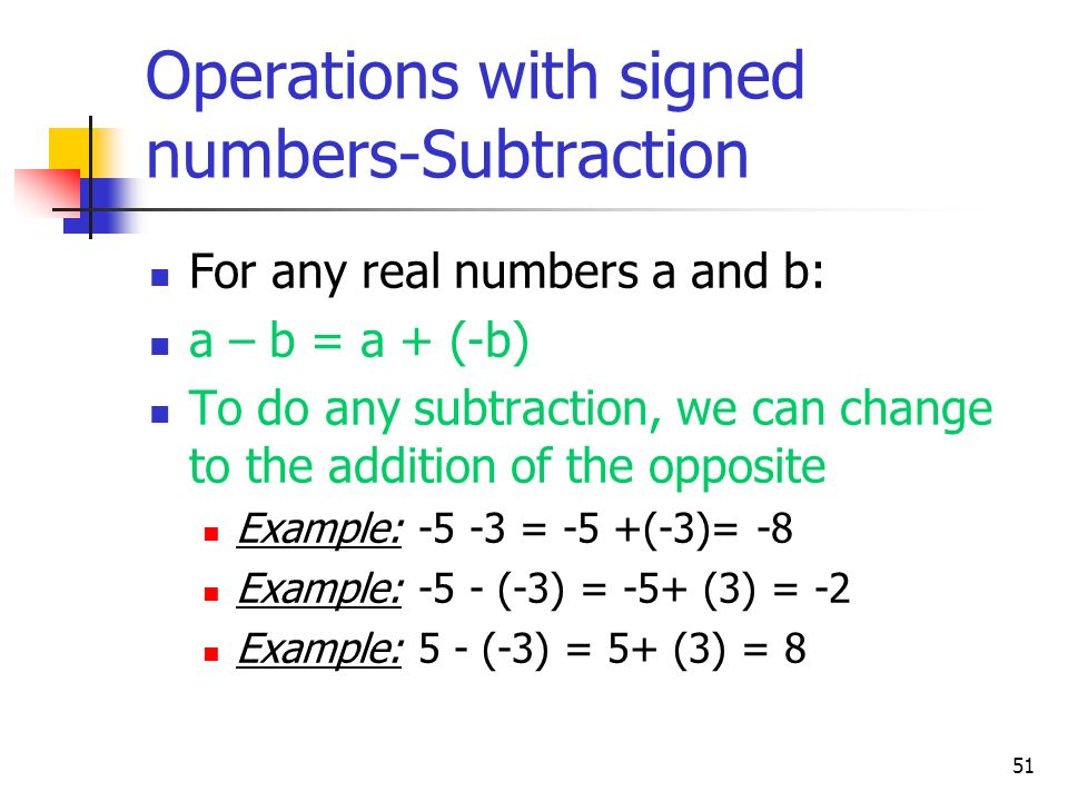 Operations with signed numbers-Subtraction