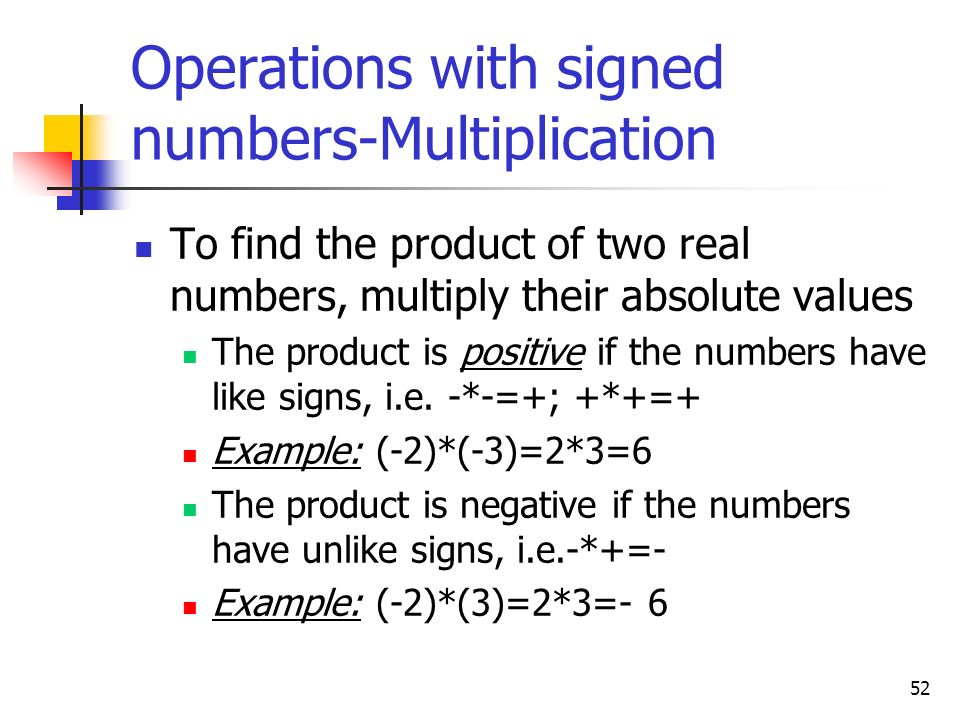 Operations with signed numbers-Multiplication