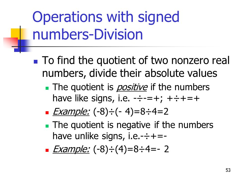 Operations with signed numbers-Division