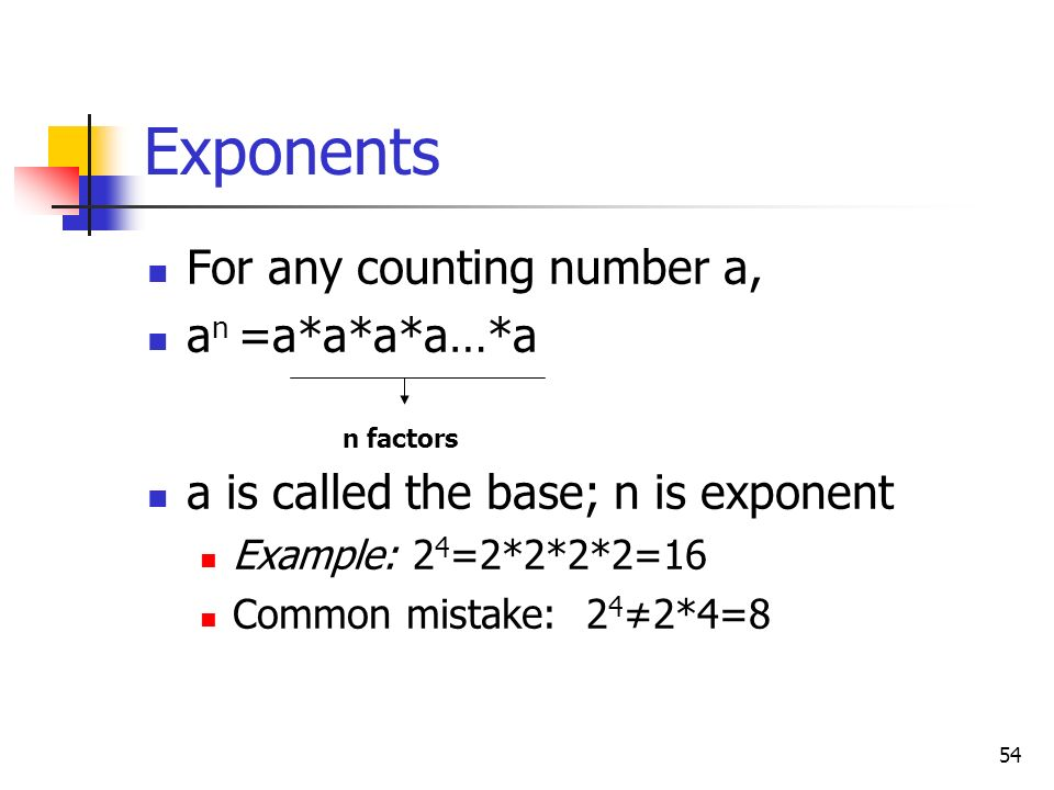 Exponents For any counting number a, an =a*a*a*a…*a
