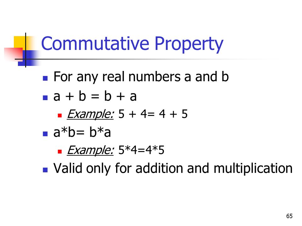 Commutative Property For any real numbers a and b a + b = b + a