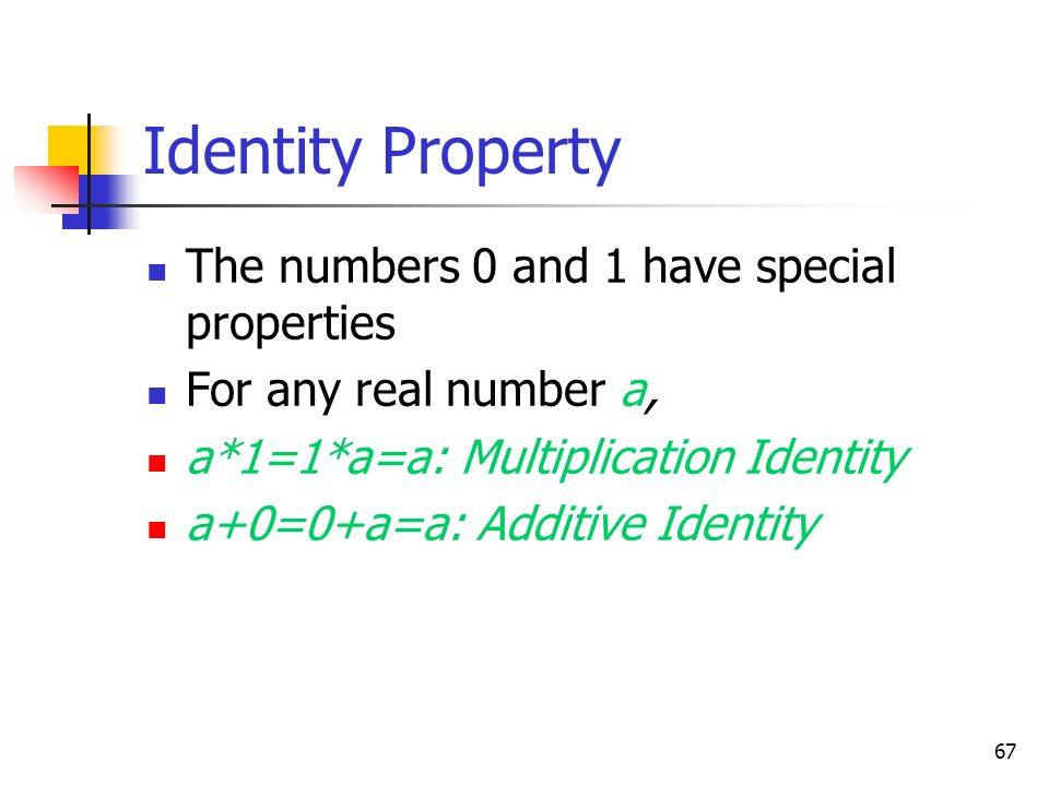 Identity Property The numbers 0 and 1 have special properties