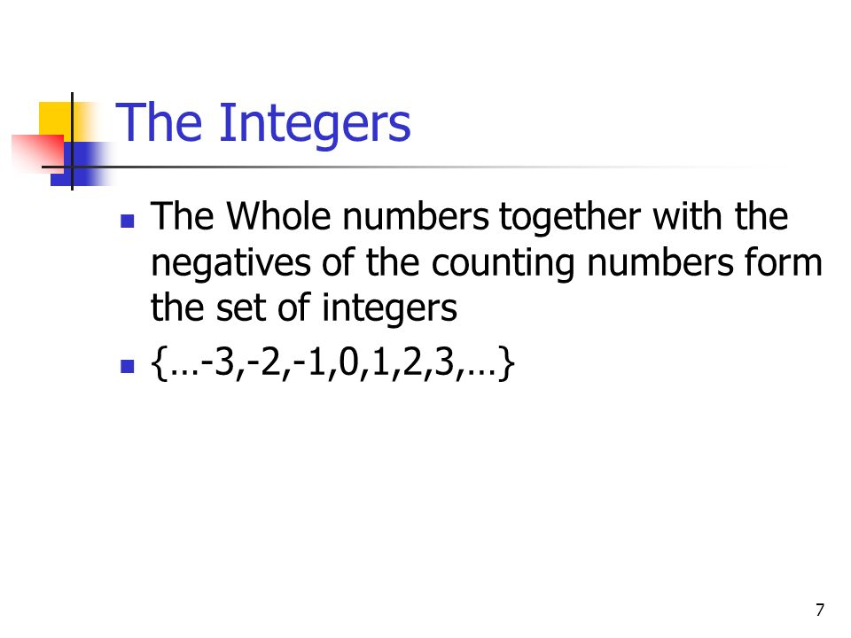 The Integers The Whole numbers together with the negatives of the counting numbers form the set of integers.