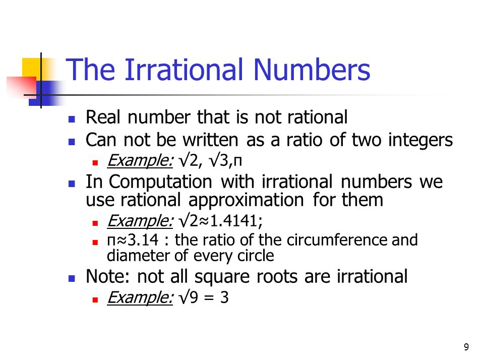 The Irrational Numbers