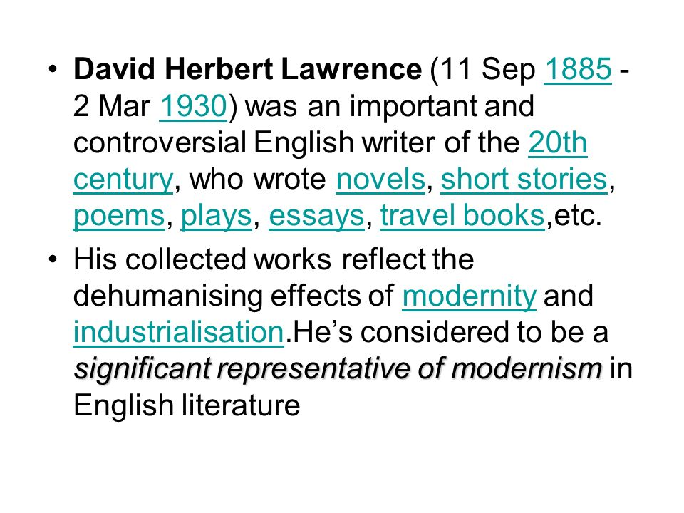 literary analysis research dh lawrence english literature essay Literary analysis, d h lawrence - analysis of the rocking horse winner click the button above to view the complete essay, speech, term paper, or research paper.
