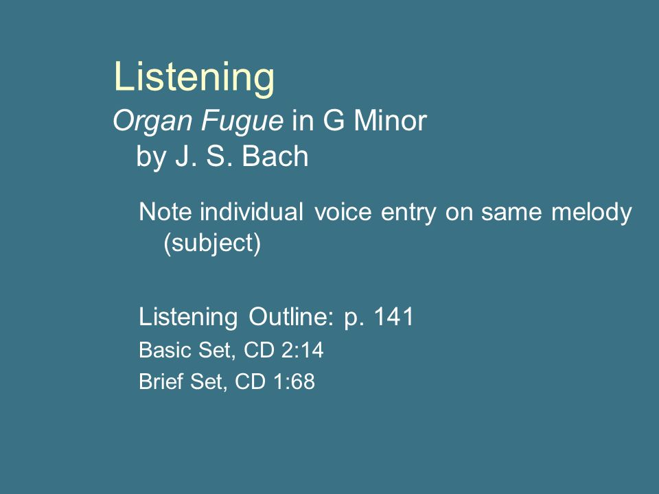 """reaction to bachs organ fugue g minor """"little fugue in g minor"""" (bwv 578) is a piece of organ music written by johann sebastian bach sometime around his years at arnstadt (1703-1707) a common misconception is that the little fugue in g minor is little in importance, but actually bach titled the piece little to avoid confusion between this piece, and the later great fantasia."""
