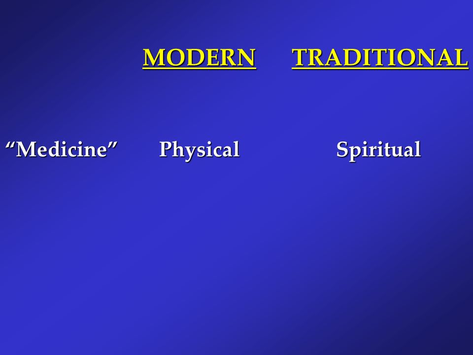 MODERN TRADITIONAL Medicine Physical Spiritual