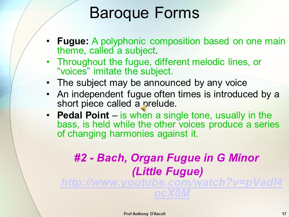 Baroque Period Prof Anthony D'Ascoli. - ppt video online download