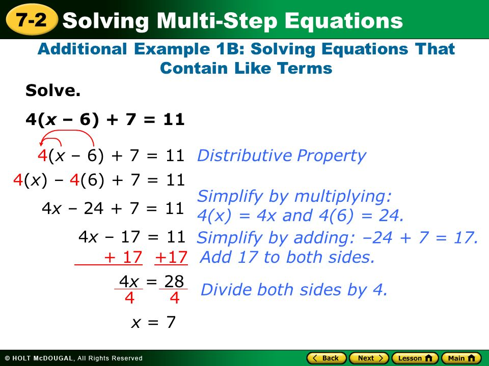 learn to solve multi step equations ppt video online download. Black Bedroom Furniture Sets. Home Design Ideas