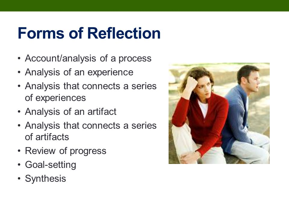 an analysis of the process and types of reflection Education reflection research papers delve into an order placed on a summarization of the what have you learned about the process of conducting - getting ideas down when they occur is actually the beginning of analysis writing and reflection- a researcher is able to.