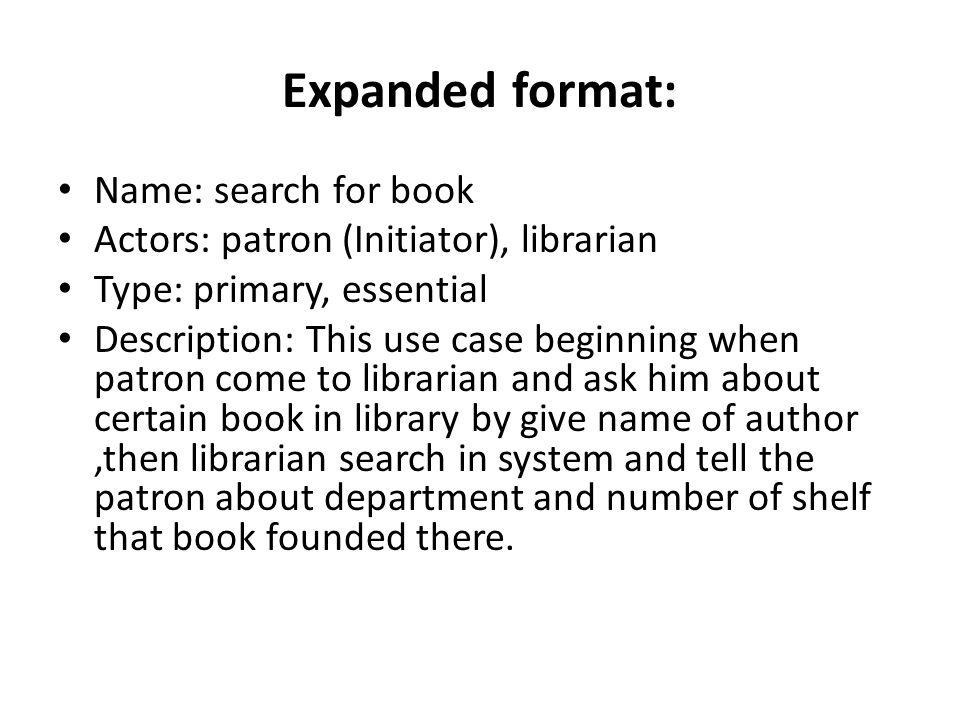 Expanded format: Name: search for book