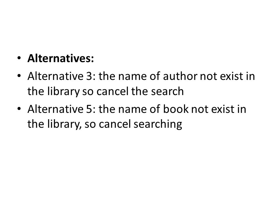 Alternatives: Alternative 3: the name of author not exist in the library so cancel the search.
