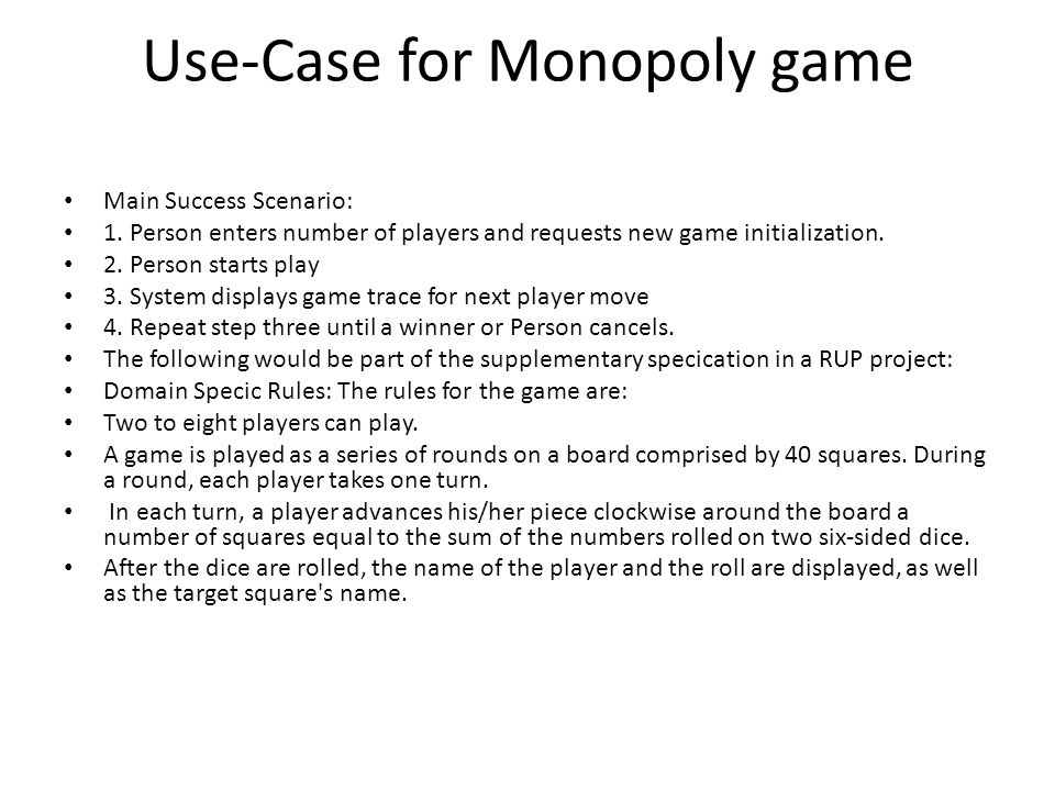 Use-Case for Monopoly game