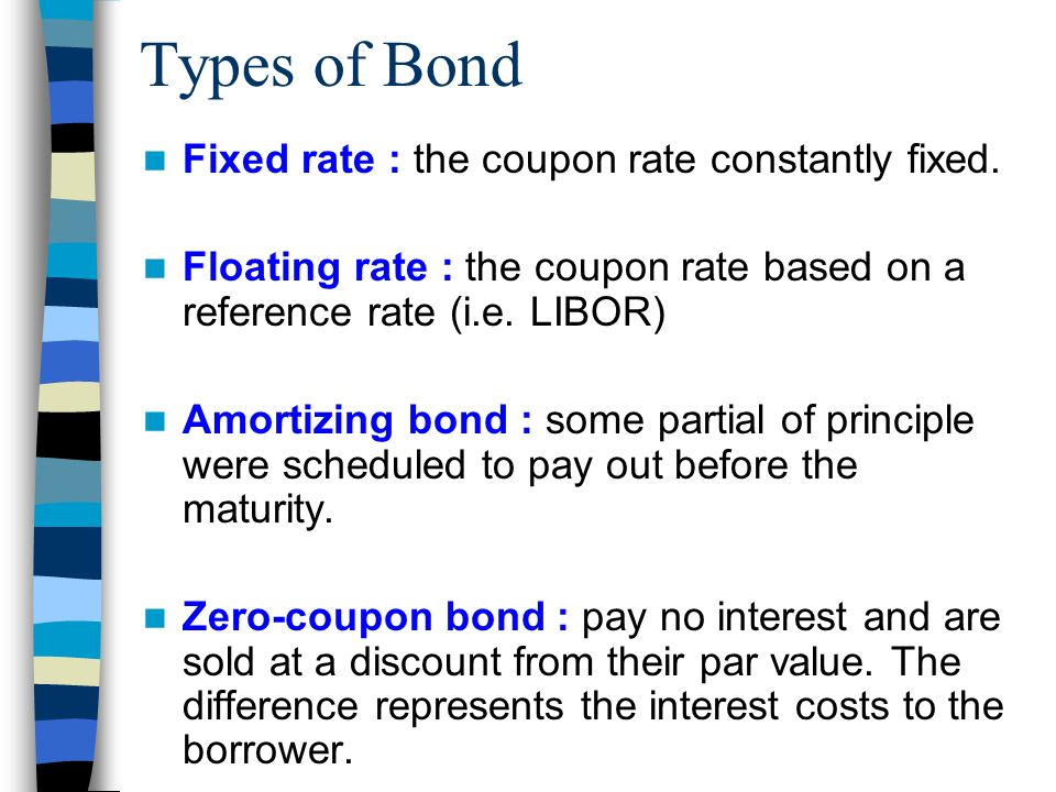 types of bonds Instruments six major types of bonds are currently issued in the people's republic of china (prc): treasury bonds, people's bank of china (pbc) bonds, policy bank financial bonds, corporate bonds, commercial paper, and medium-term notes (mtns.