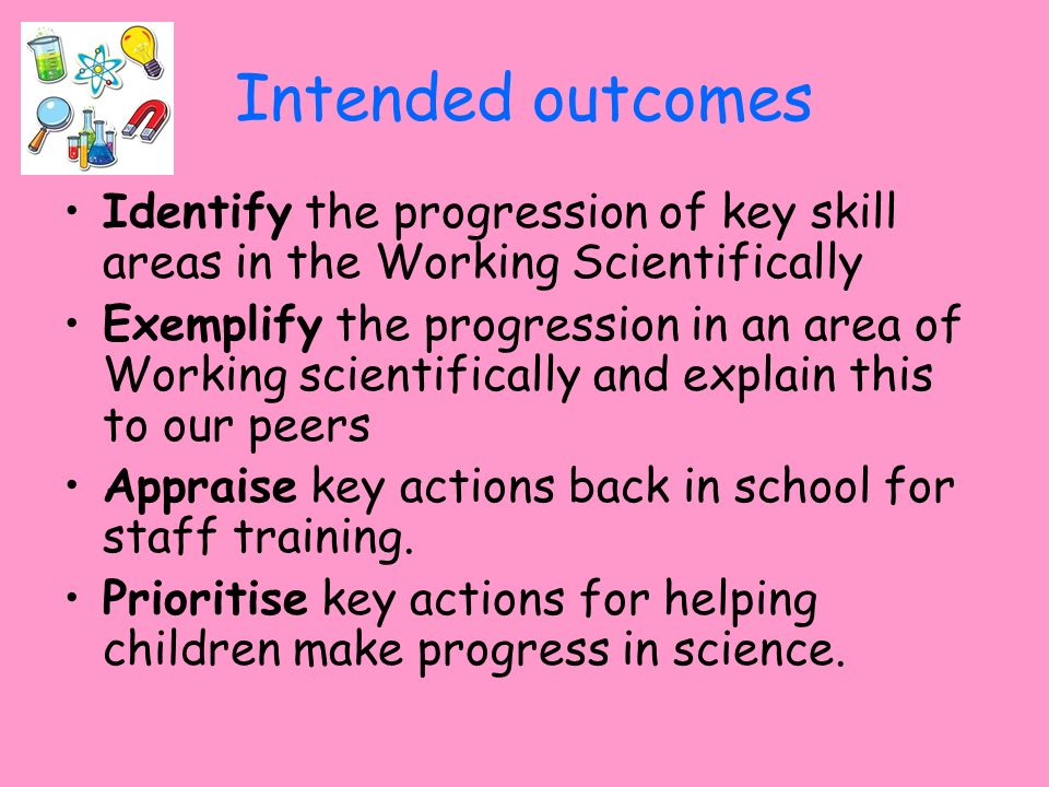 Intended outcomes Identify the progression of key skill areas in the Working Scientifically.