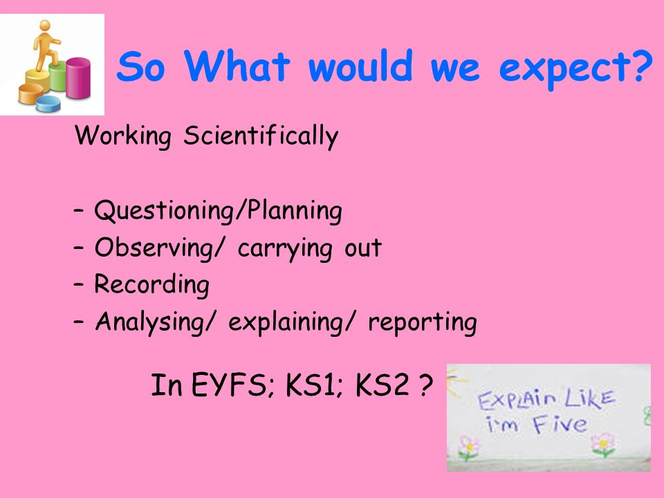 So What would we expect In EYFS; KS1; KS2 Working Scientifically