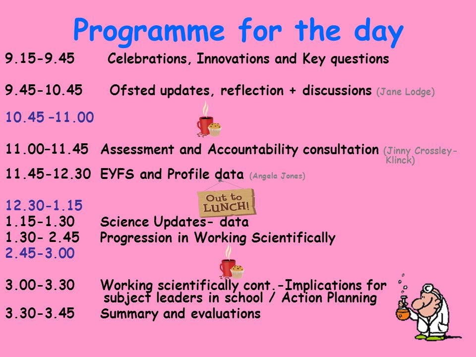 Programme for the day Celebrations, Innovations and Key questions.