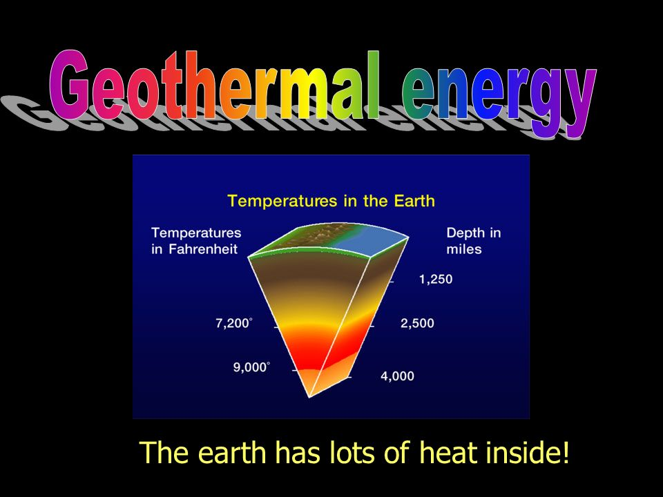 Geothermal energy The earth has lots of heat inside!