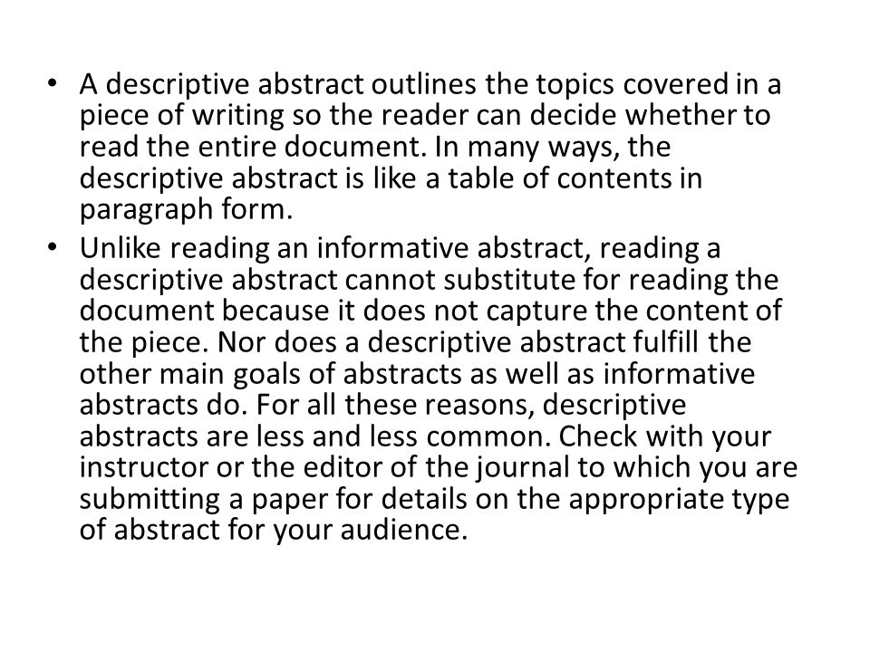writing a journal abstract