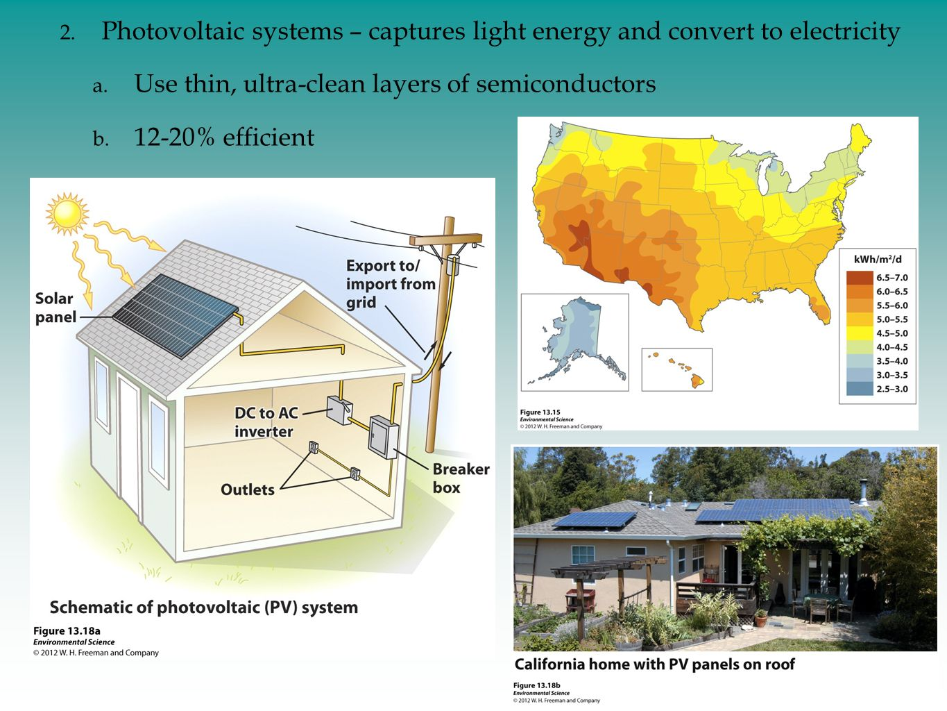 Photovoltaic systems – captures light energy and convert to electricity