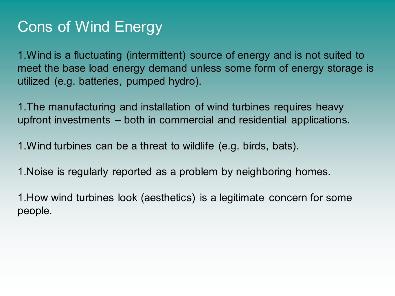 Cons of Wind Energy