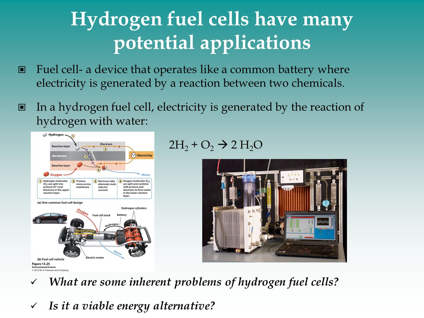 Hydrogen fuel cells have many potential applications