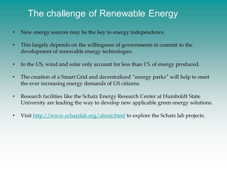 The challenge of Renewable Energy