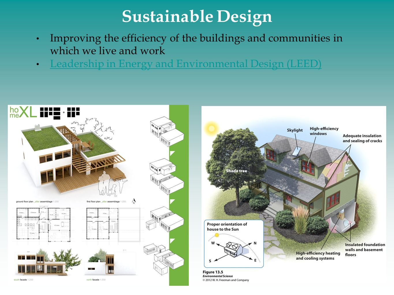 Sustainable Design Improving the efficiency of the buildings and communities in which we live and work.